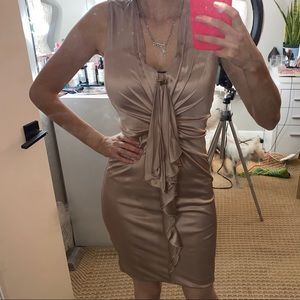 GUCCI    nude pink silk cocktail dress size small